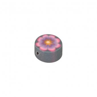 Fimoperle, 5X3mm, rund, silbergrau (pink)