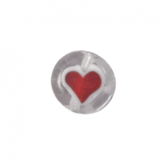 Glasperle, 8mm, rund mit Herzmotiv, transparent...