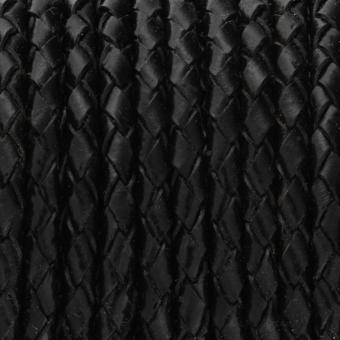 Geflochtenes Lederband, 50cm, 6mm breit, schwarz