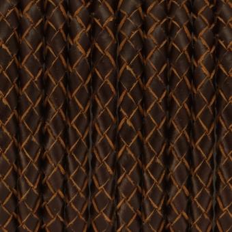Geflochtenes Lederband, 50cm, 6mm breit, dunkel...
