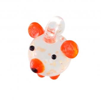 Anhänger aus Glas, 15X12mm, Teddy, hellorange (...