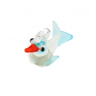 Anhänger aus Glas, 10X10mm, Vogel, hellblau (tr...