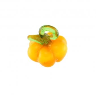 Anhänger aus Glas, 10X9mm, Kürbis, orange-gelb