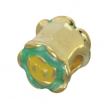 Großlochperle, 9mm, goldfarben (türkis-grün)