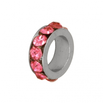 Strass-Spacer, 8X2mm, rosa