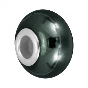 Keramik Großlochperle, 16X11mm, dunkelgrün dunkelgrün