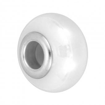 Keramik Großlochperle, 16X11mm, weiß weiß