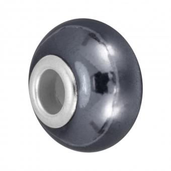 Keramik Großlochperle, 16X11mm, dunkelgrau dunkelgrau