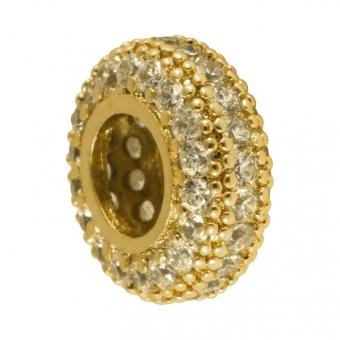 Juwelier-Großlochperle, 12mm, rund, transparent/ goldfarben Großlochperle goldfarben