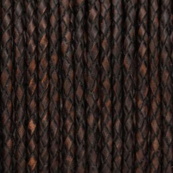 Geflochtenes Lederband, 50cm, 5mm breit, dunkel...