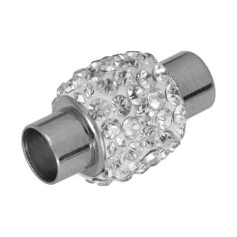 Edelstahlverschluss mit Strass, 18X12mm, Loch-Ø 6mm, Metall, crystal/ weiß