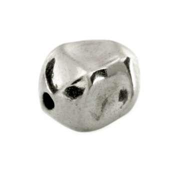 Perle, 6X10mm, oval, silberfarben