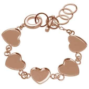 Armband für Ø fünf 12X12 mm große Cabochons Herzen, roségoldfarben roségold