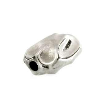 Perle, 5X8mm, oval, silberfarben