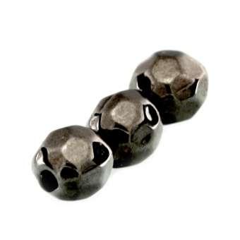 Perle, 5mm, rund, dunkel grau metallic