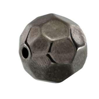 Perle, 12mm, rund, dunkel grau metallic