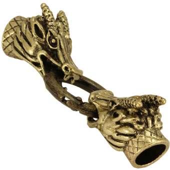 Verschluss Set mit Drachenköpfen, 80mm, Loch-Ø 9-10mm, antik goldfarben antik goldfarben