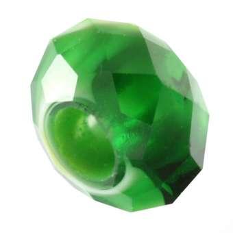 Großlochperle, 13mm, rund, grasgrün-weiß grasgrün-weiß