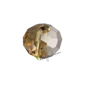 Glasschliffperle, briolette, 8X6mm, safrangelb (silber) safrangelb (schwarz-silber)