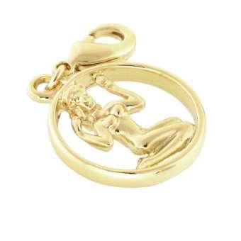 Anhänger, 18X18mm, Sternzeichen Jungfrau, goldfarben hellgoldfarben