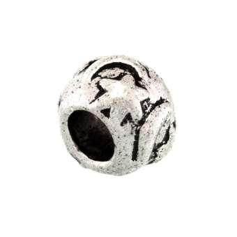Großlochperle aus Metall, 7X10mm, Mond, silberfarben silberfarben