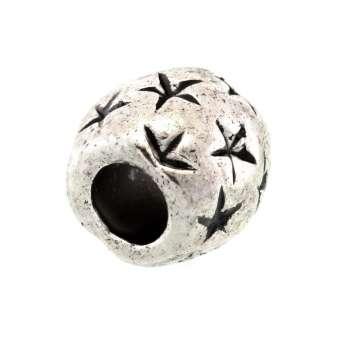 Großlochperle aus Metall, 10X10mm, rund mit geprägten Sternen, silberfarben silberfarben