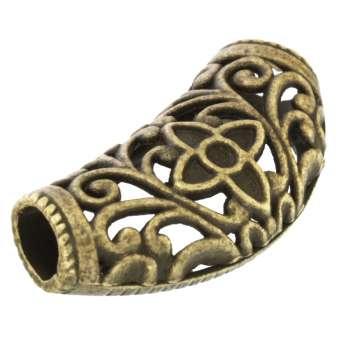Designschmuckstück mit Ornamentl, 35X15mm, Zylinder, bronzefarben bronzefarben