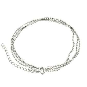 Halskette (ballchain) mit Ringverschluss, 55cm, silberfarben silberfarben