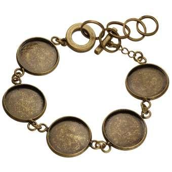 Armband für Ø fünf 16 mm große Cabochons, bronzefarben bronze