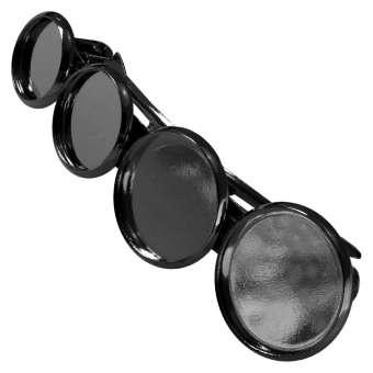 Haarspange für Ø 10, 12, 14, 16 mm große Cabochons, schwarz silberfarben schwarz silber