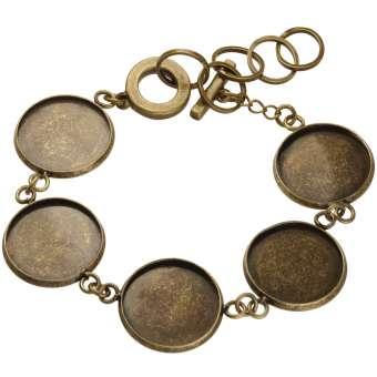 Armband für Ø fünf 18 mm große Cabochons, bronzefarben bronze