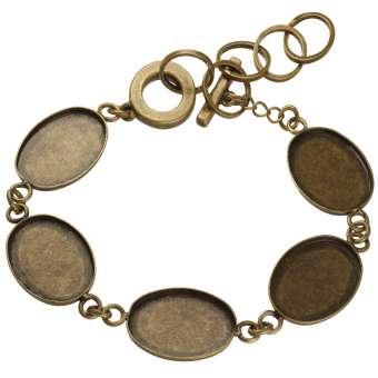 Armband für Ø fünf 13X18 mm große, ovale Cabochons, bronzefarben bronze