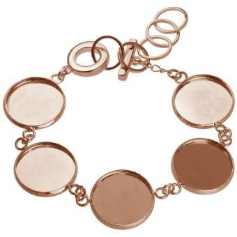 Armband für Ø fünf 18 mm große Cabochons, roségoldfarben roségold