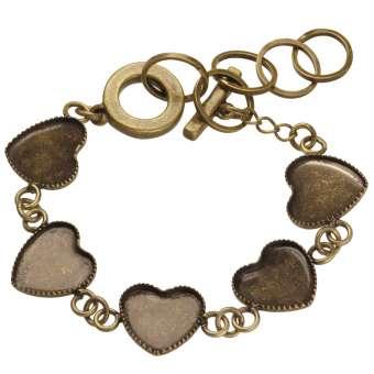 Armband für Ø fünf 12X12 mm große Cabochons Herzen, bronzefarben bronze