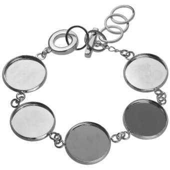 Armband für Ø fünf 18 mm große Cabochons, silberfarben silber