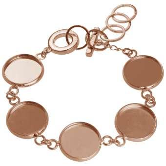 Armband für Ø fünf 14 mm große Cabochons, roségoldfarben roségold