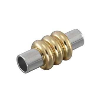 Magnetverschluss, 18X8mm, Loch-Ø 4mm, Metall, silber-goldfarben