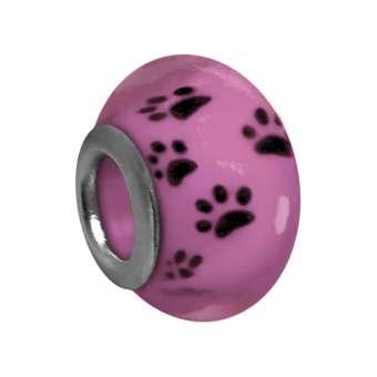 Großloch-Perle mit Hunde-Tatzen-Design, 14mm, pink pink