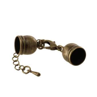 Verschluss mit Kette, 35X5mm, Loch-Ø 3mm, bronzefarben
