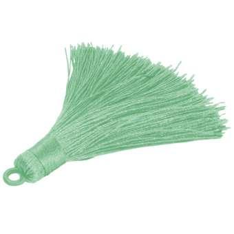 Quaste aus Satinband, 70 mm, lindgrün lindgrün