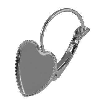 Ohrhaken für Ø 12 mm große Cabochons Herzen, silberfarben silber