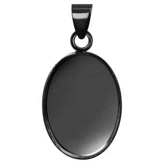 Anhänger Halter für Ø 13X18 mm große, ovale Cabochons, schwarz silberfarben schwarz silber