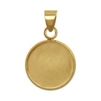 Anhänger Halter für Ø 12 mm große Cabochons, goldfarben gold