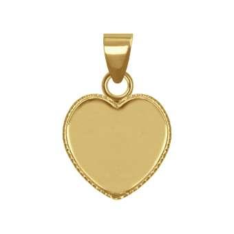 Anhänger Halter für Ø 12X12 mm große Cabochons Herzen, goldfarben gold