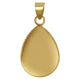 Anhänger Halter für Ø 13X18 mm große Cabochons tropfen, goldfarben gold