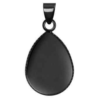 Anhänger Halter für Ø 13X18 mm große Cabochons tropfen, schwarz silberfarben schwarz silber