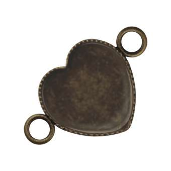 Anhänger Halter für Ø 12X12 mm große Cabochons Herzen, bronzefarben bronze