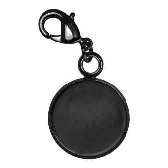 Charms für Ø 12 mm große Cabochons, schwarz silberfarben schwarz silber