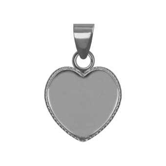 Anhänger Halter für Ø 12X12 mm große Cabochons Herzen, silberfarben silber