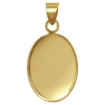 Anhänger Halter für Ø 13X18 mm große, ovale Cabochons, goldfarben gold